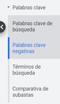 Como utilizar palabras clave negativas