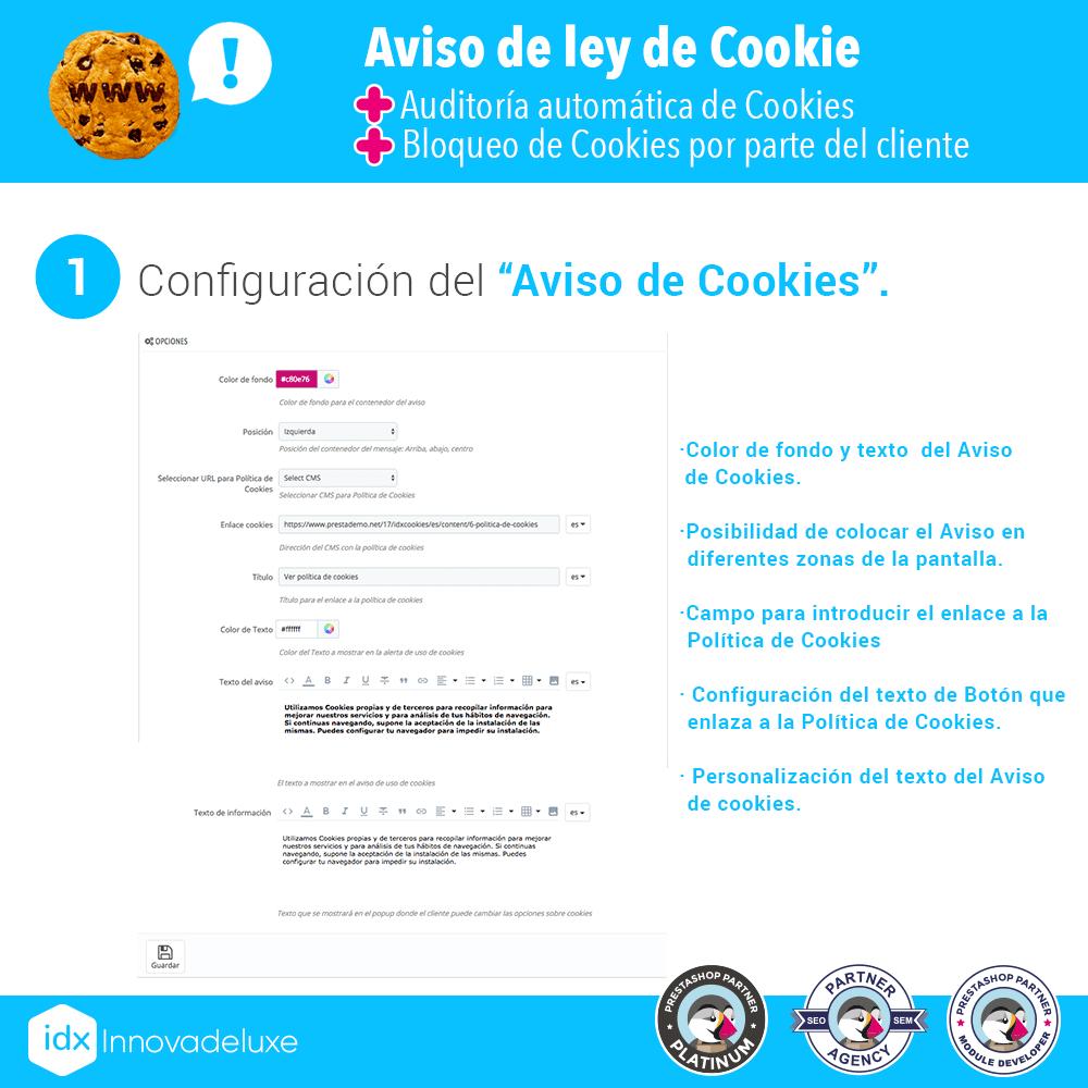 Módulo de Cookies pantalla 1