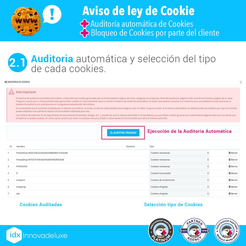 Módulo de Cookies pantalla 2