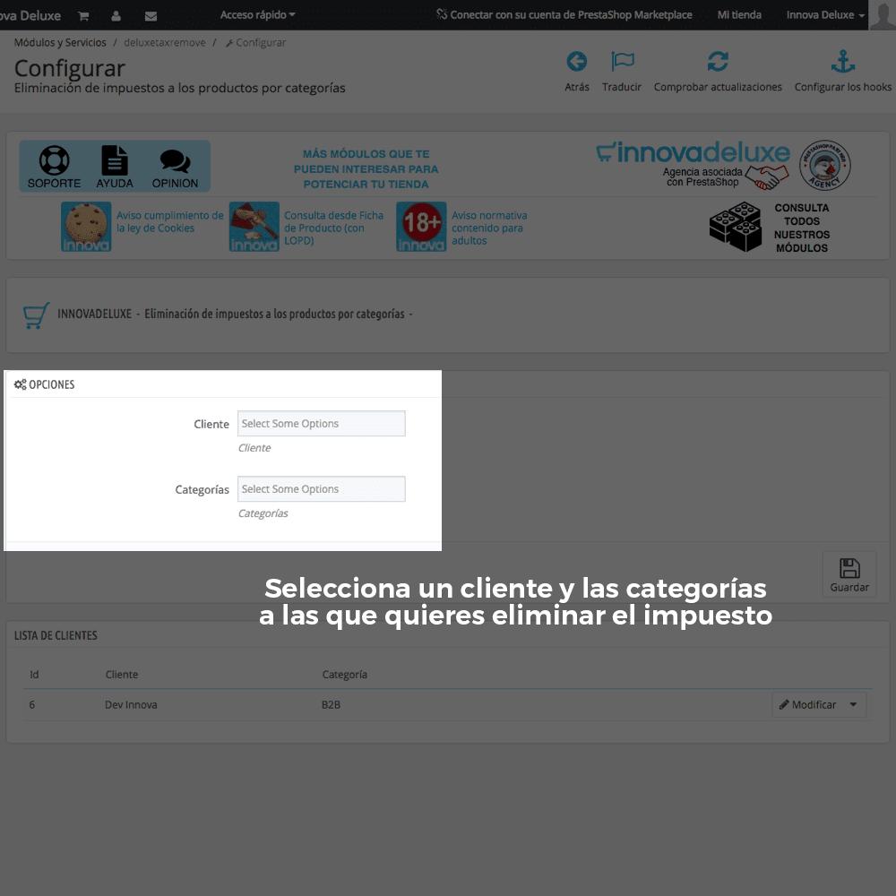 Módulo para Eliminación de impuestos por categoría/cliente - Pantalla 2