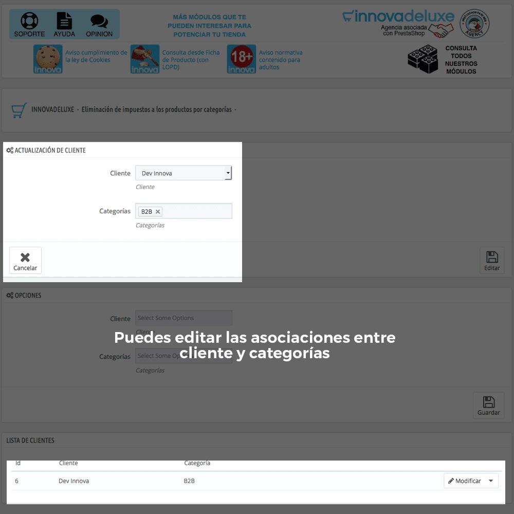 Módulo para Eliminación de impuestos por categoría/cliente - Pantalla 3