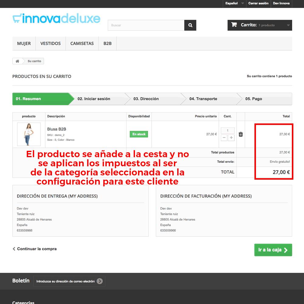 Módulo para Eliminación de impuestos por categoría/cliente - Pantalla 8