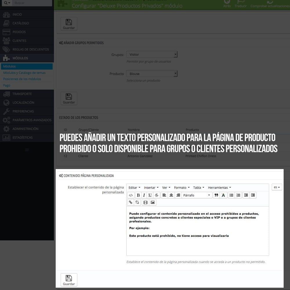 Módulo para tener productos privados por clientes o grupos de clientes - Pantalla 4