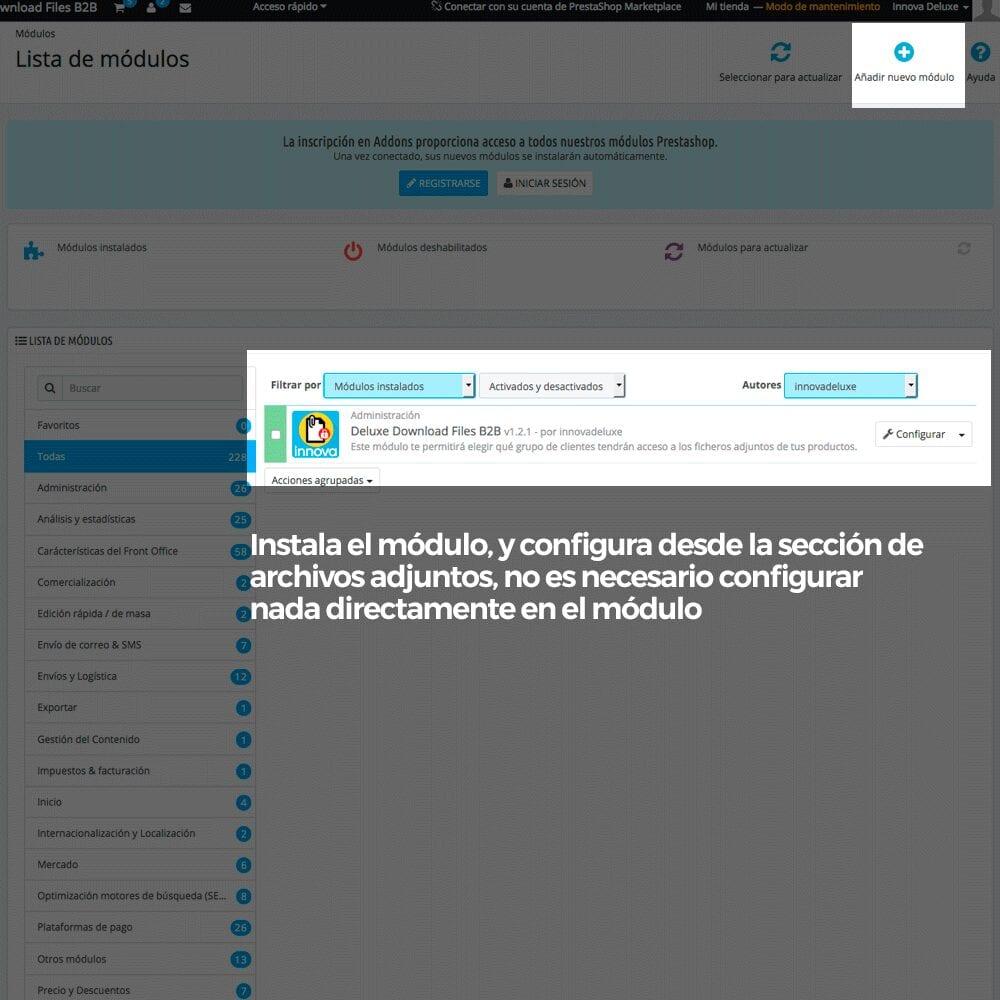 Módulo para restringir el acceso a los ficheros adjuntos por grupos de clientes - Pantalla 1