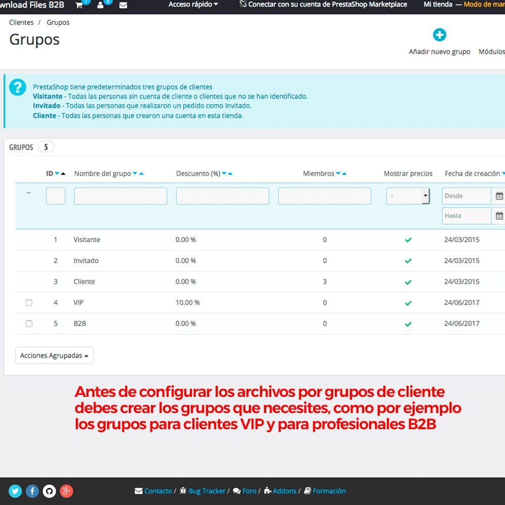 Módulo para restringir el acceso a los ficheros adjuntos por grupos de clientes - Pantalla 2