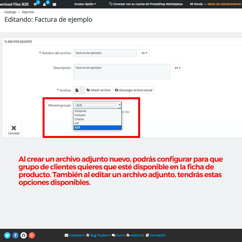 Módulo para restringir el acceso a los ficheros adjuntos por grupos de clientes - Pantalla 4
