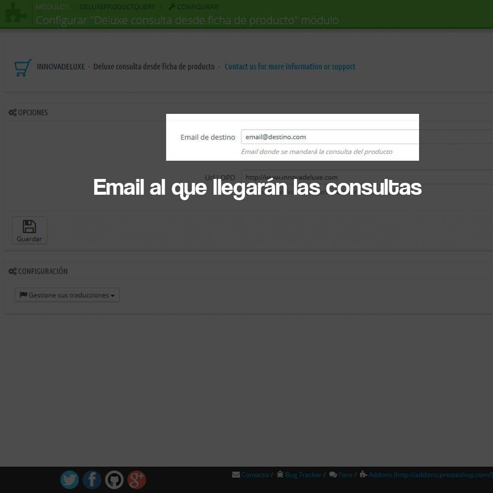 Módulo de formulario de contacto en ficha de producto, con cumplimiento de la RGPD - Pantalla 1