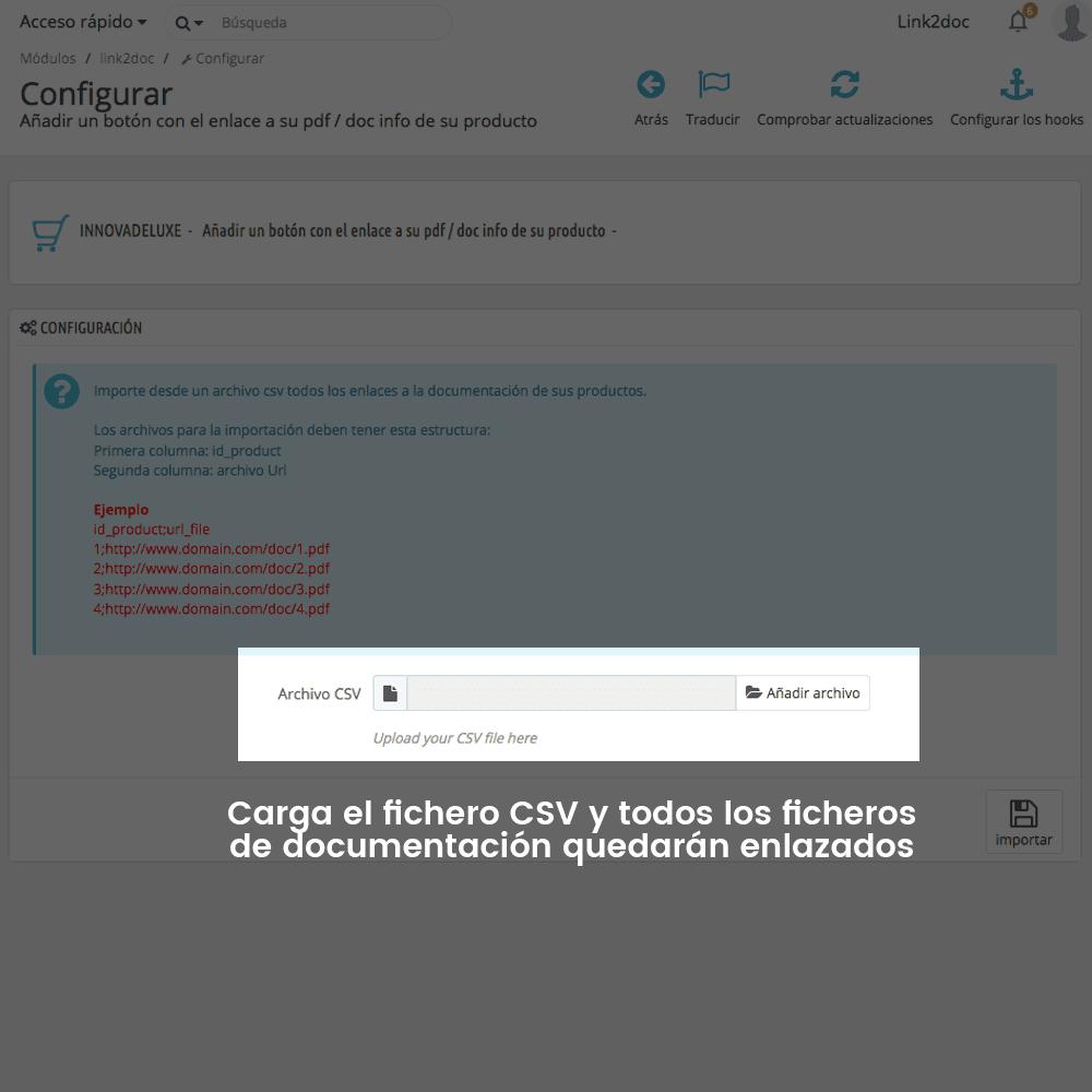Módulo Enlazar ficheros de documentación en ficha de producto - Pantalla 3