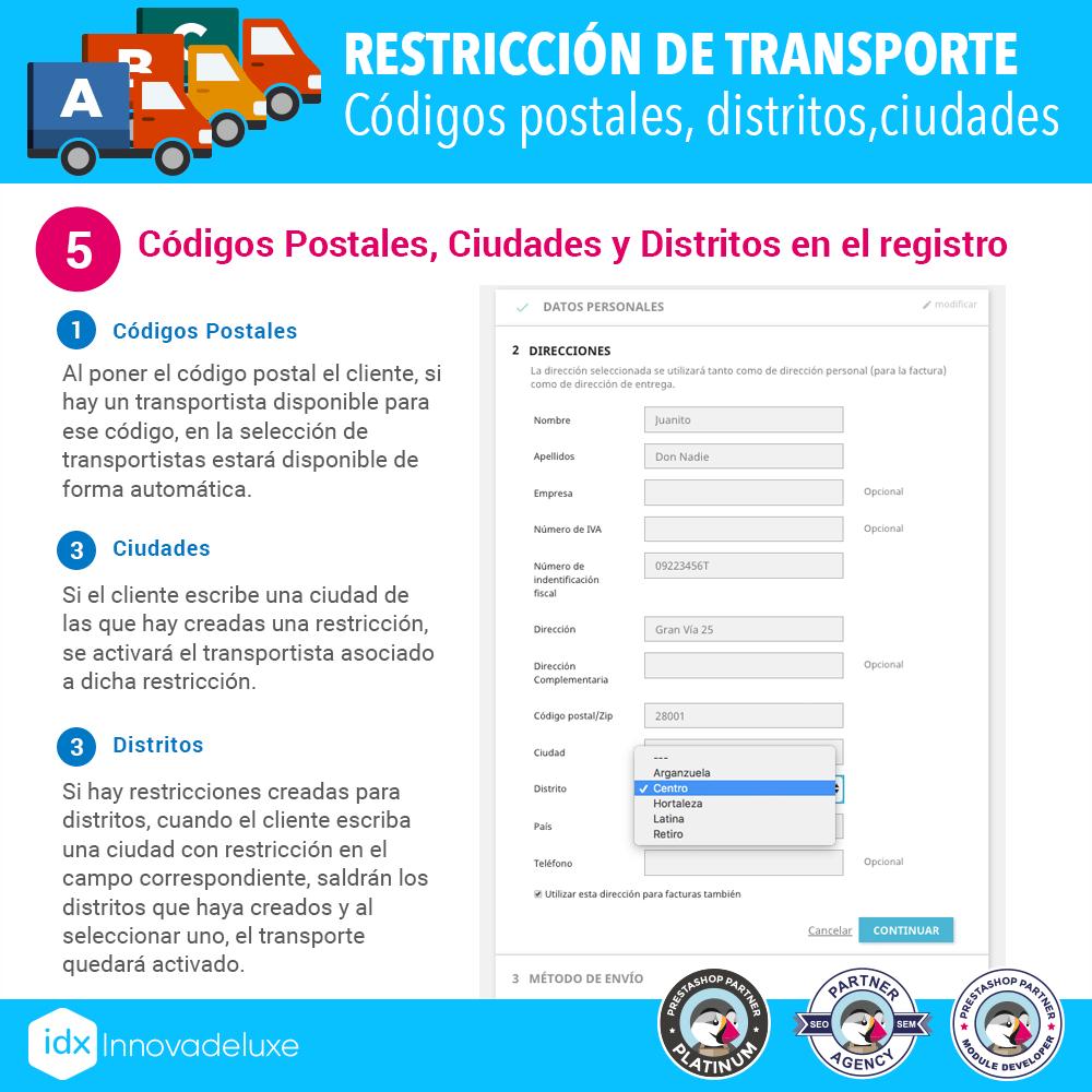Módulo Restricciones de transportistas - Pantalla 6