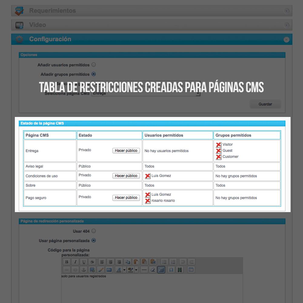 Módulo para tener páginas CMS privadas por grupos de clientes - Pantalla 3