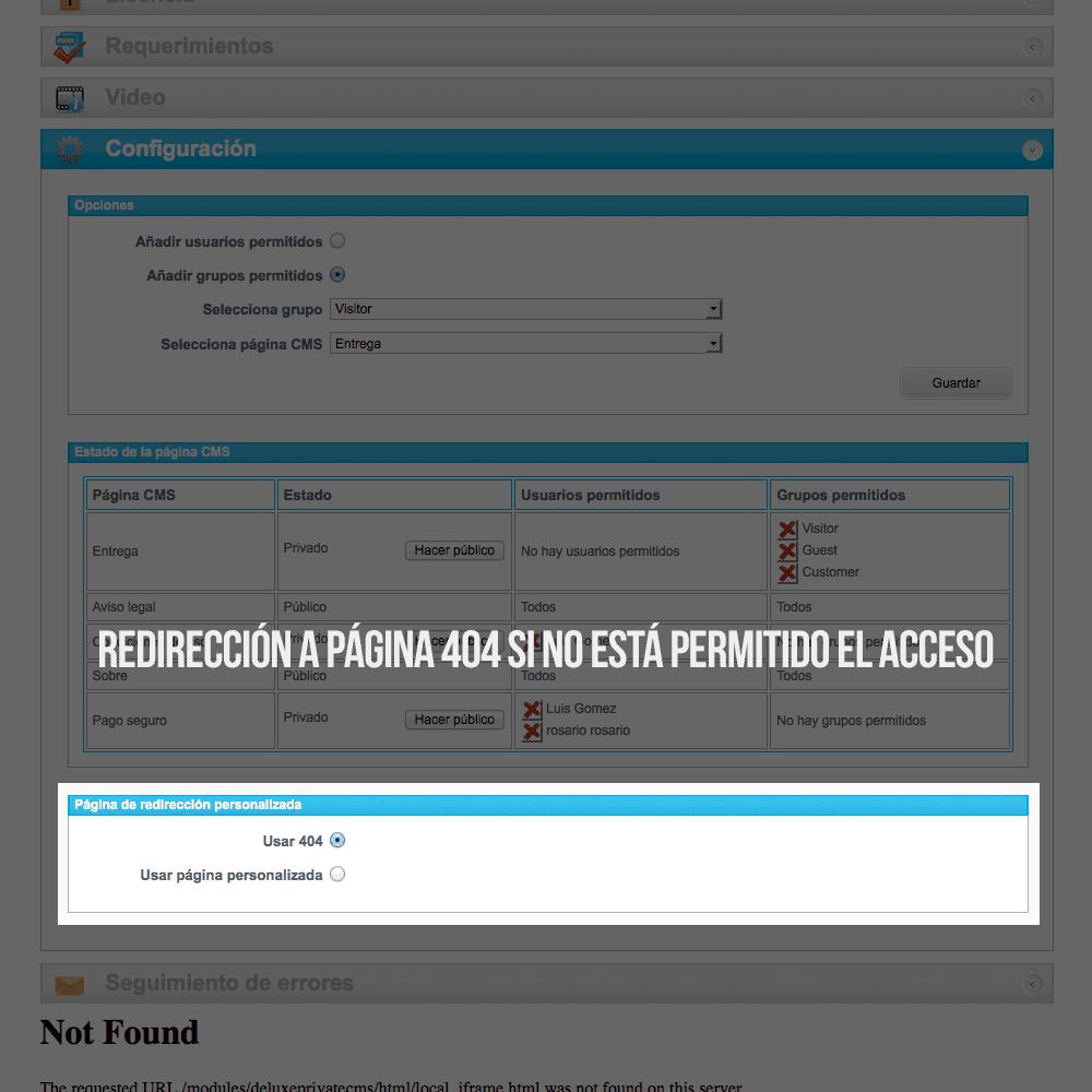 Módulo para tener páginas CMS privadas por grupos de clientes - Pantalla 4