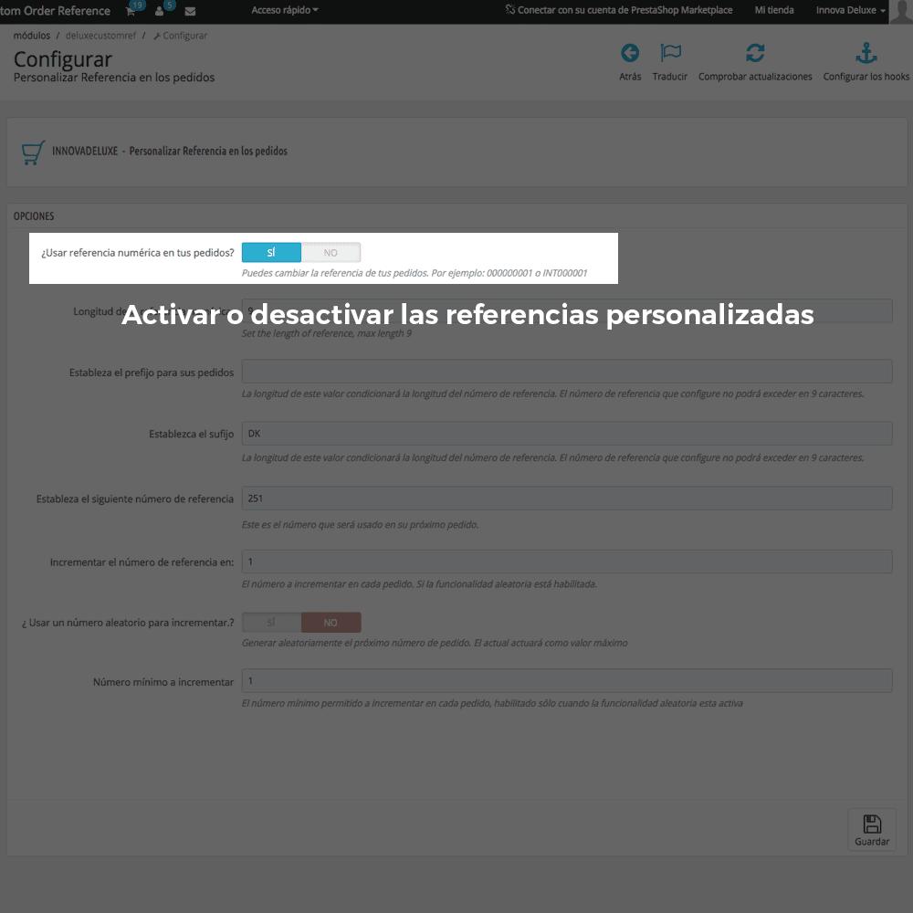 Módulo para personalizar la referencia de los pedidos - Pantalla 2