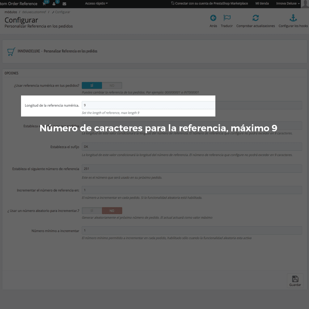 Módulo para personalizar la referencia de los pedidos - Pantalla 3