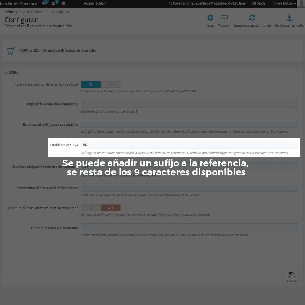 Módulo para personalizar la referencia de los pedidos - Pantalla 5