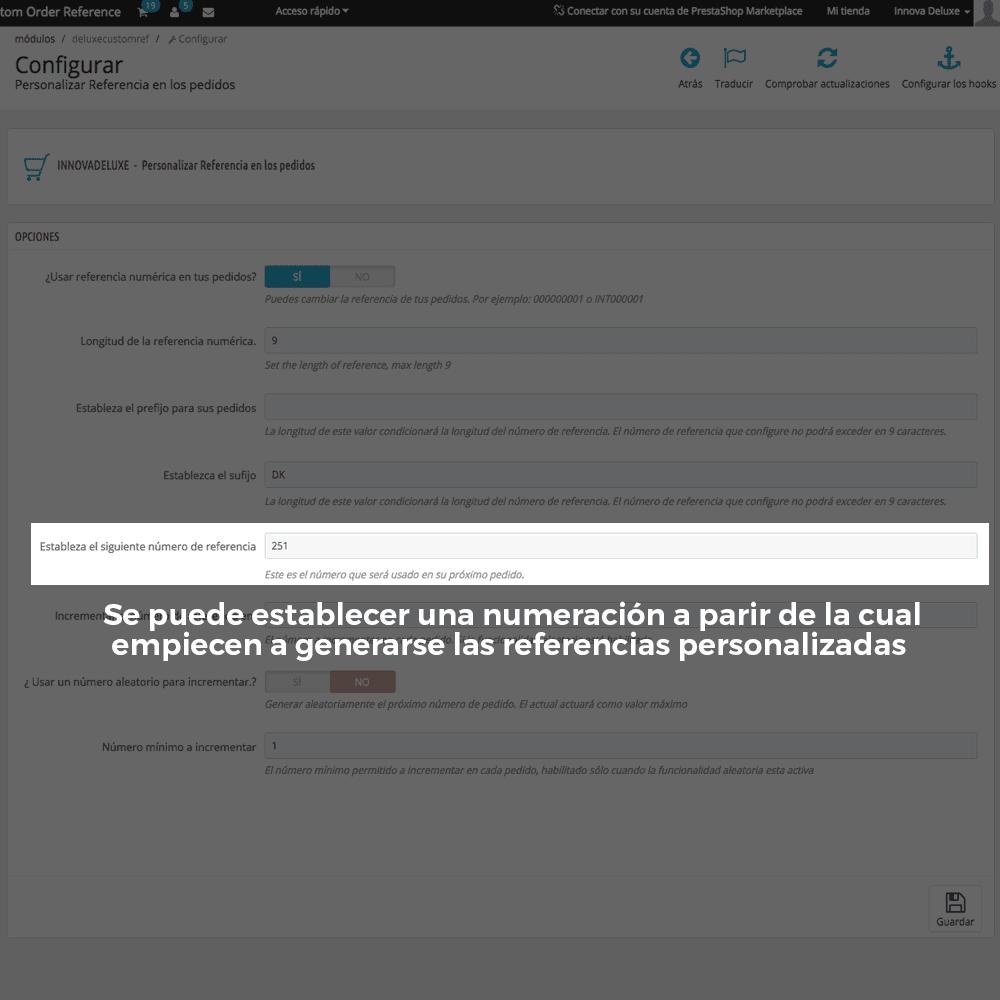 Módulo para personalizar la referencia de los pedidos - Pantalla 6