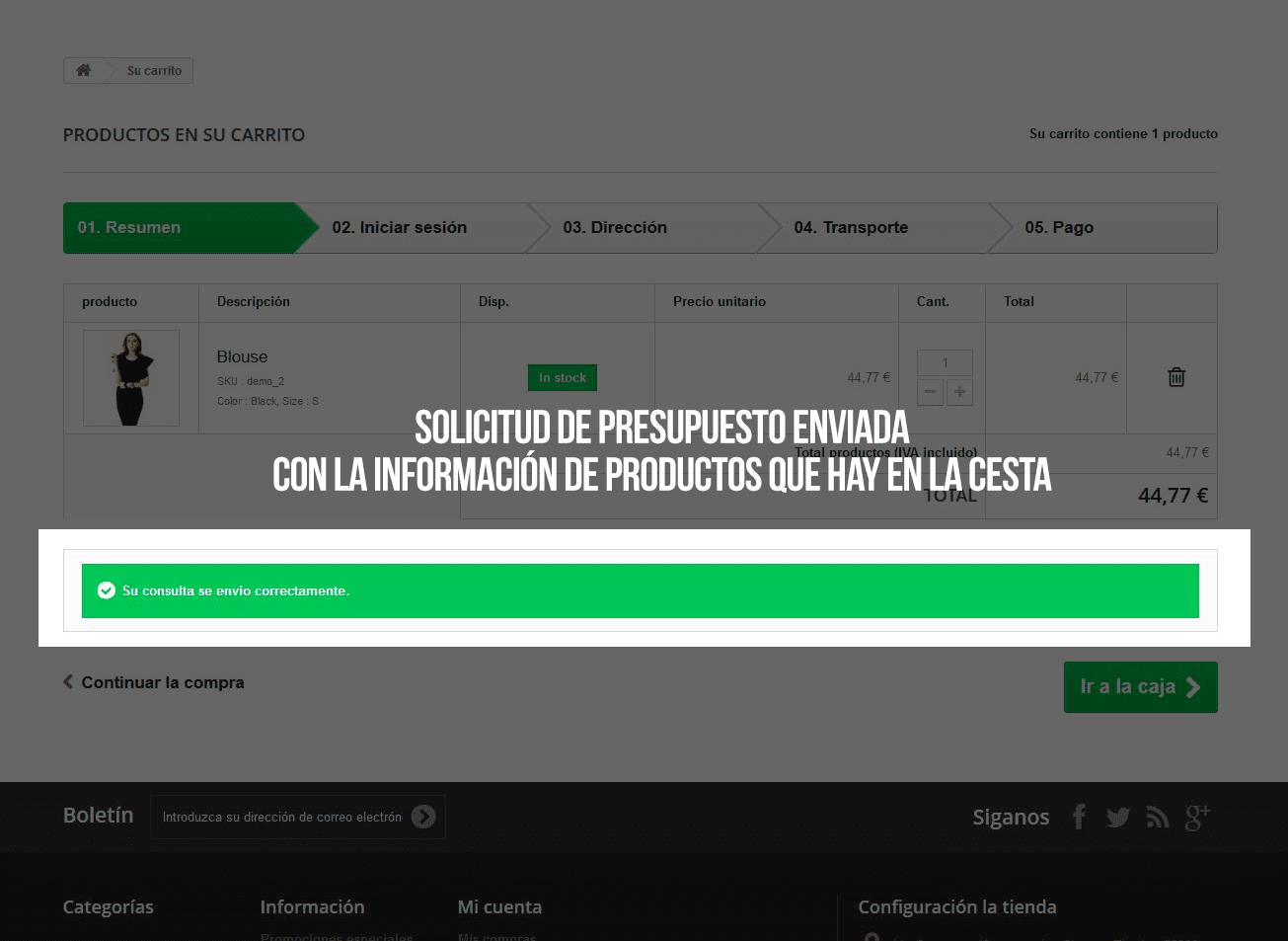 Módulo de solicitud de presupeustos básico en el carrito - Pantalla 2